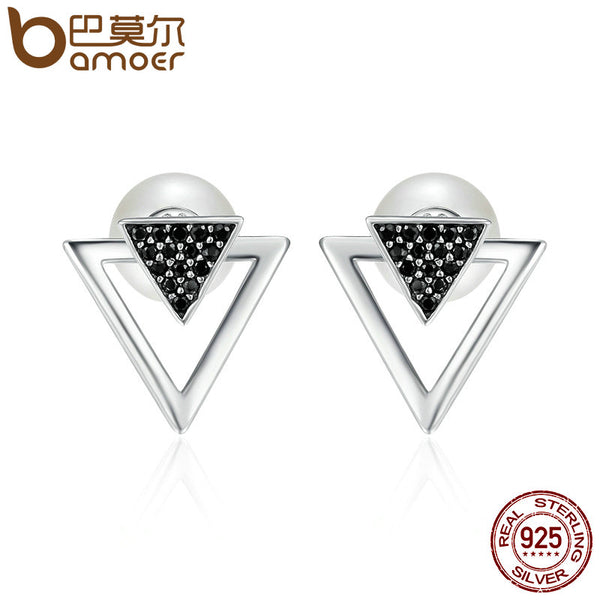 BAMOER 100% 925 Sterling Silver Double Triangle Imitation Pearl Stud Earrings