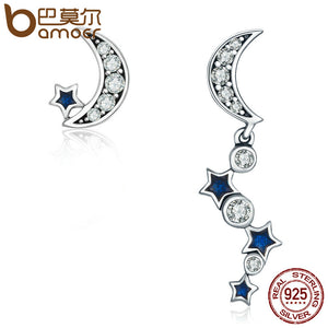 BAMOER Authentic 925 Sterling Silver Crescent Half Moon & Star Dazzling Blue CZ Drop Earrings