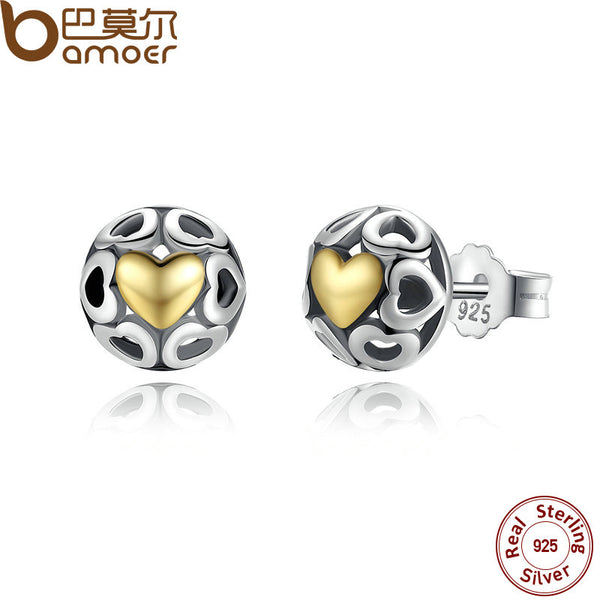 BAMOER Brincos 925 Sterling Silver My One True Love Stud Earrings for Women Openwork Heart Earrings Fine Jewelry PAS443