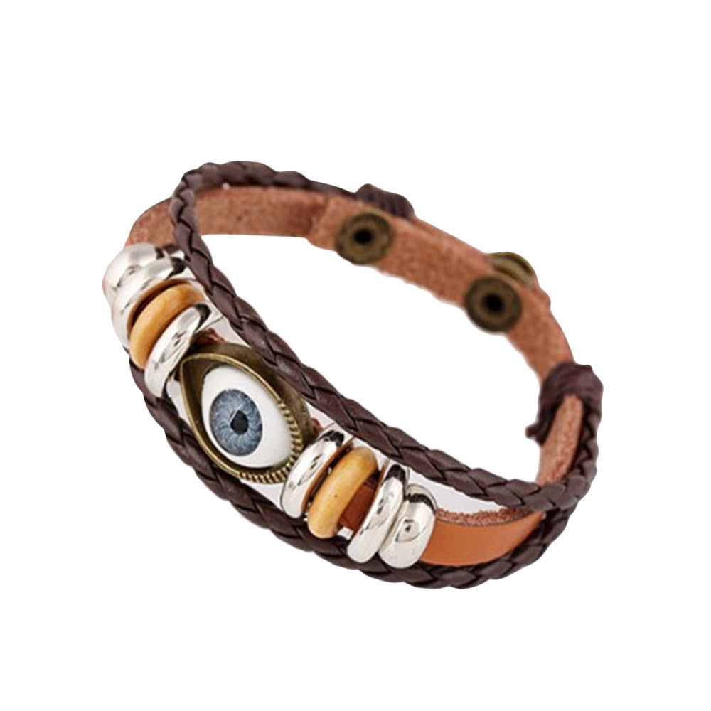 Eye Jewelry Hemp Rope Antique Leather Pendant Bracelet BK