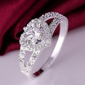 Women Chic Sterling Silver Crystal Heart Shaped Love Wedding Ring