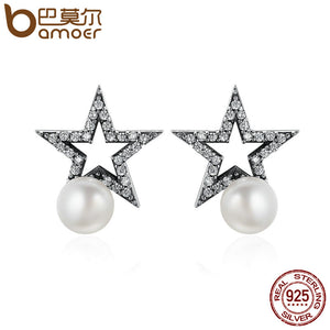 BAMOER Authentic 925 Sterling Silver Sparking Star CZ & Freshwater Pearl Female Stud Earrings for Women Fine Jewelry Gift SCE176