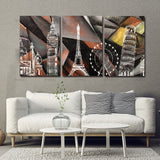 Canvas Painting Wall Art Pictures 3 Panels print on abstract building Home Decorative Living Room Paint On Canvas No Frame