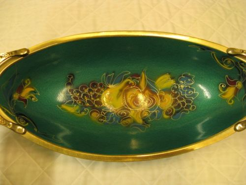 Judaica Made In Israel Green Enameled Brass Fruit Bowl Display Dish Vintage 1960