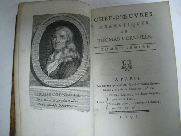 1791 Volume 1&2 Chef D'Oeuvres Dramatiques De Thomas Corneille A Paris Excellent