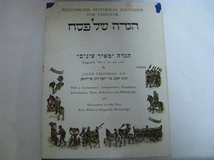 First Edition Polychrome Historical Haggadah For Passover Jacob Freedman w/Dust