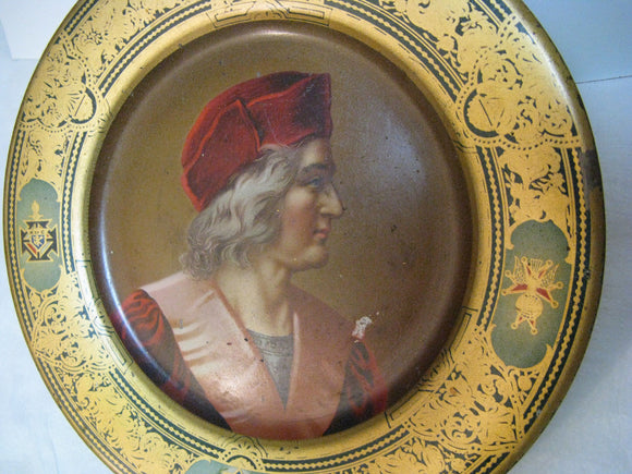 Knights Of Colombus Souvenir Vienna Art Plates 1905 Tin Portrait Plate Beach Co.
