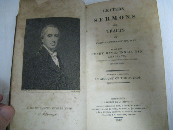 1812 Letters Sermons & Tracts On Various Important Subjects Henry David Inglis