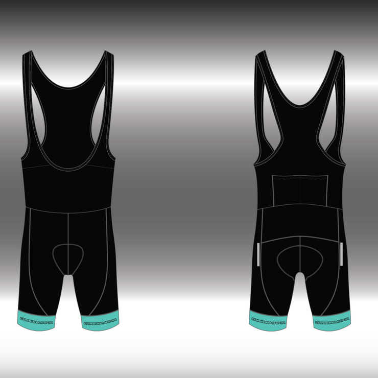 MENS CYCLING BIB SHORTS - CELESTE BLACK CELL