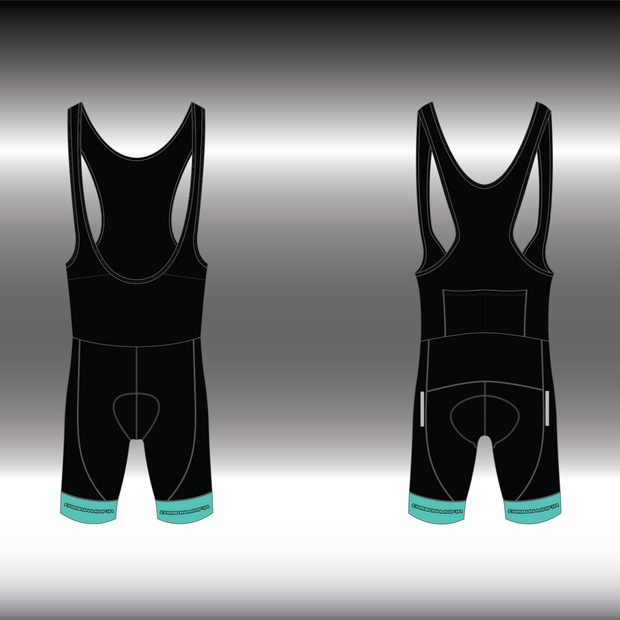 WOMENS CYCLING BIB SHORTS -  CELESTE BLACK CELL