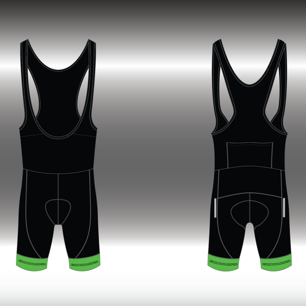 MENS CYCLING BIB SHORTS - FLURO GREEN CELL