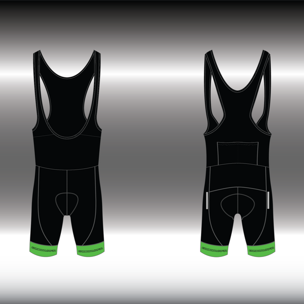 WOMENS CYCLING BIB SHORTS -  FLURO GREEN CELL