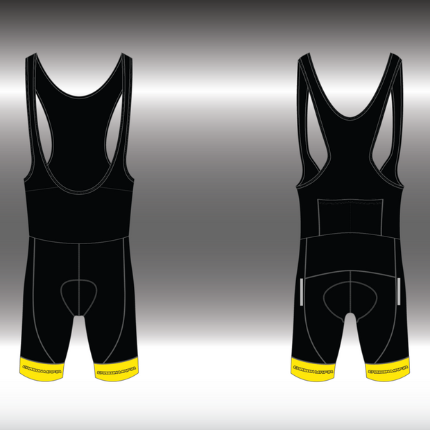 MENS CYCLING BIB SHORTS - FLURO YELLOW CELL