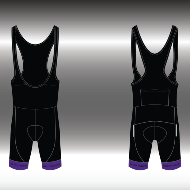MENS CYCLING BIB SHORTS -  PURPLE CELL