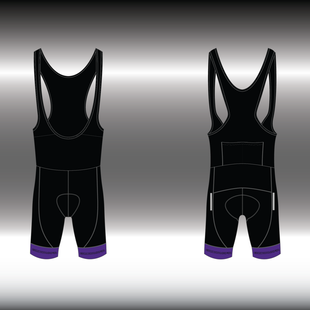 WOMENS CYCLING BIB SHORTS -  PURPLE CELL