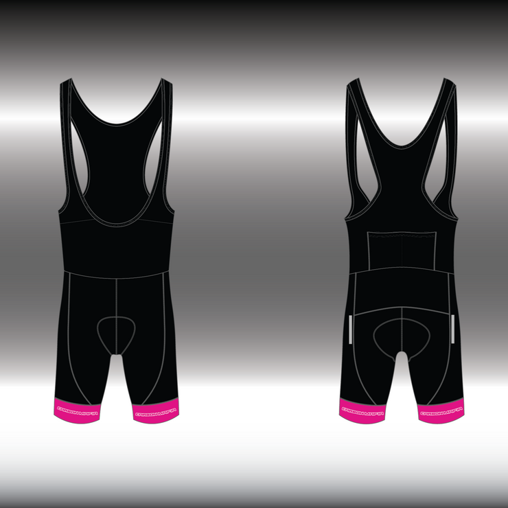 WOMENS CYCLING BIB SHORTS -  PINK WHITE