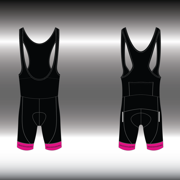 WOMENS CYCLING BIB SHORTS -  PINK BLACK CELL