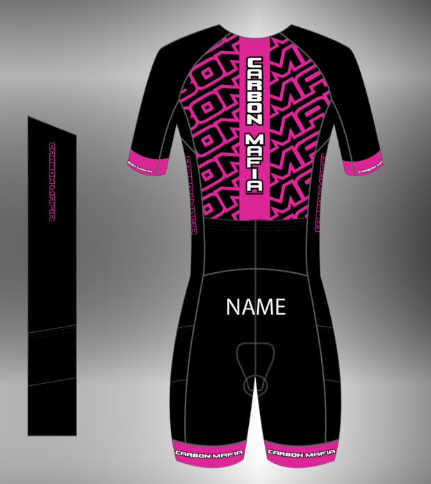 WOMENS MID SLEEVE TRI SUIT - PINK