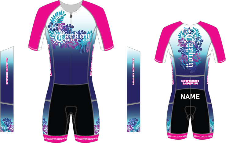 WOMENS HIBISCUS 1 PIECE SLEEVED TRI SUIT