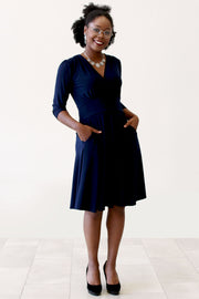 Chelsea Navy Print | 3/4 Sleeve Dress