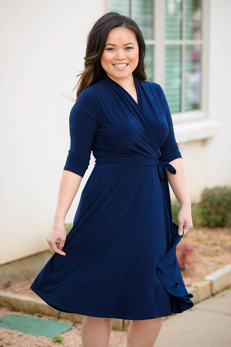 Chelsea Navy Print | Elbow Sleeve Wrap Dress