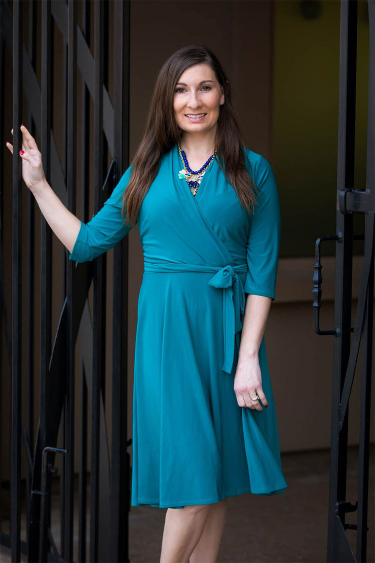 Chelsea Teal Print | Elbow Sleeve Wrap Dress