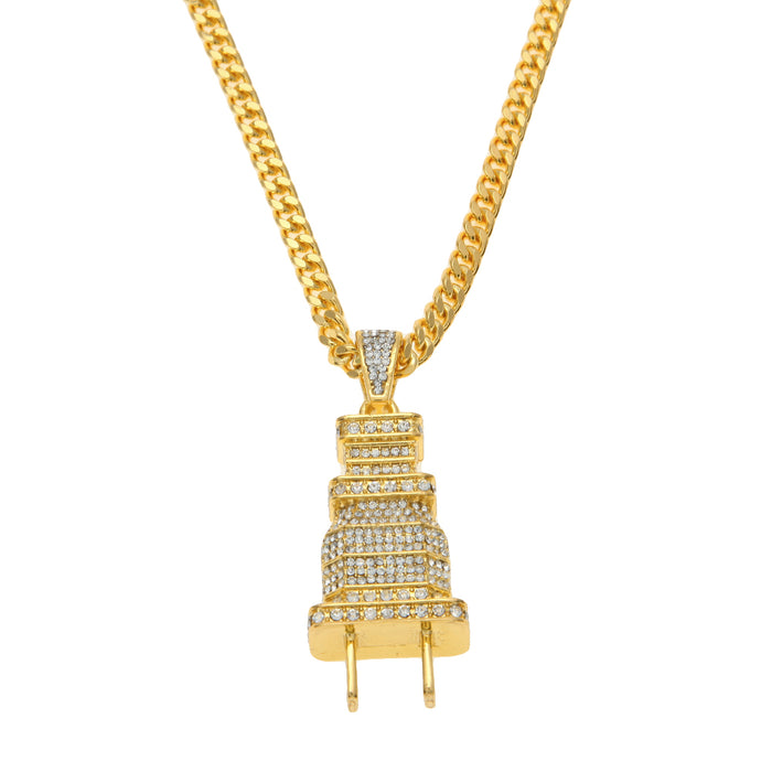Iced Out Plug Pendant Necklace - OGClout