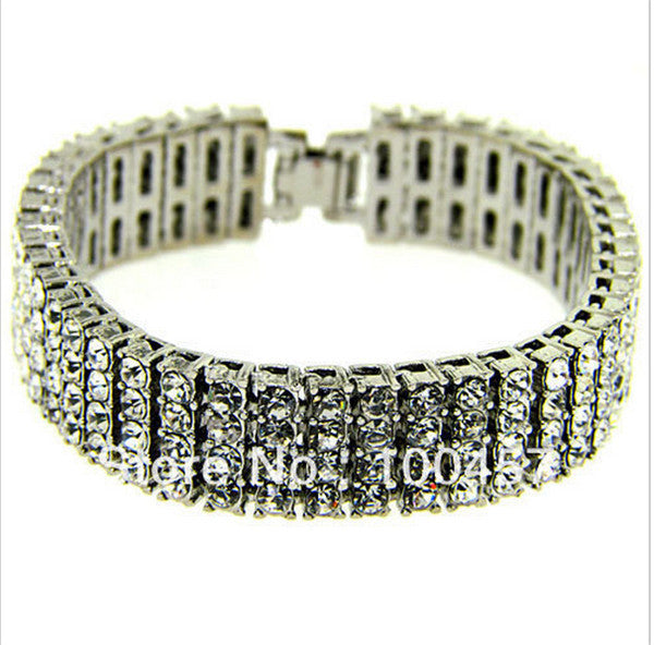 "4 Row 8"" 14mm Rhinestone Crystal Iced Out Hip Hop Bling Bracelet - OGClout"
