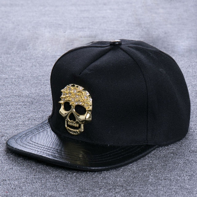 Golden Skull  Leather  Adjustable snapback