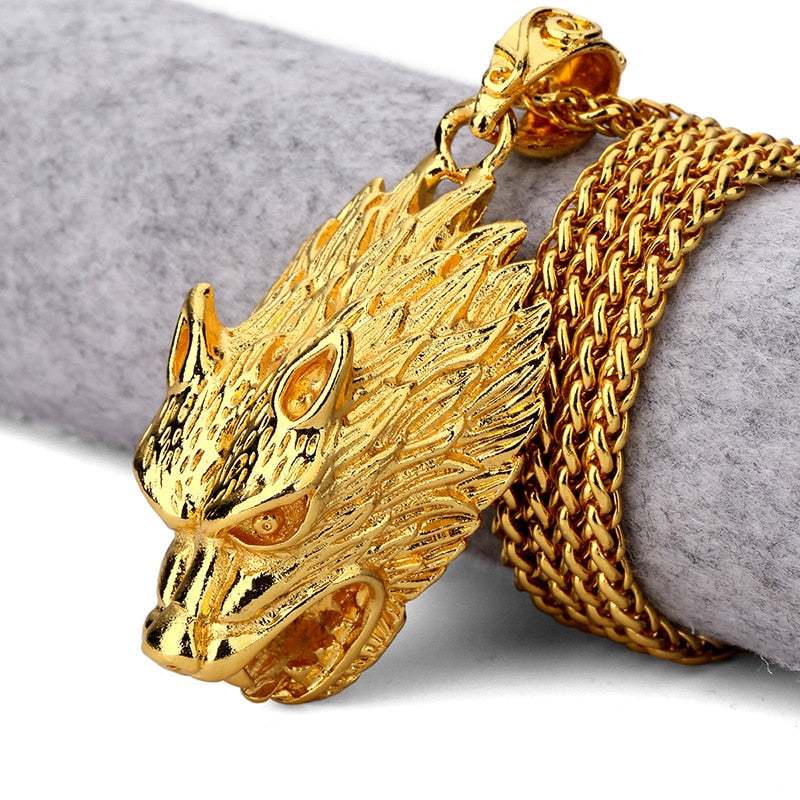 Gold Wolf Head Necklaces- Men - OGClout