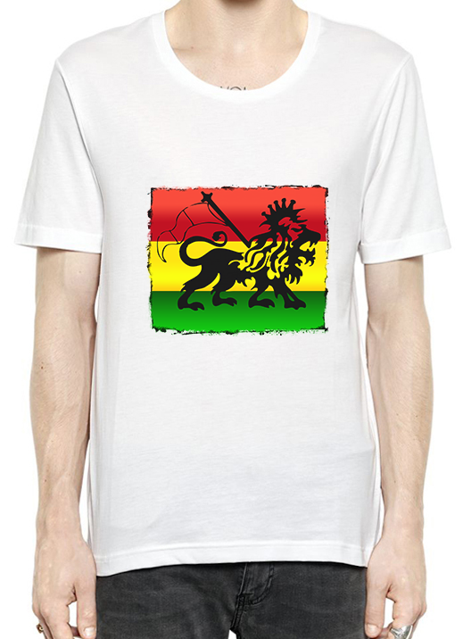 Lion of Judah Ethiopia Flag T-Shirt For Men - OGClout