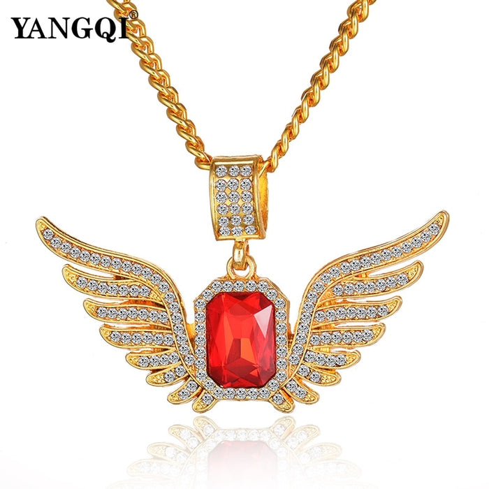 Ice Out Angle Wing Bling Bling Full Rhinestone Luxury  Necklace Jewelry