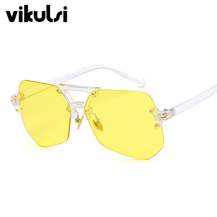 Irregular Yellow  Hip Hop Sunglasses Men/ Women -Transparent /Over sized Eyeglasses - OGClout
