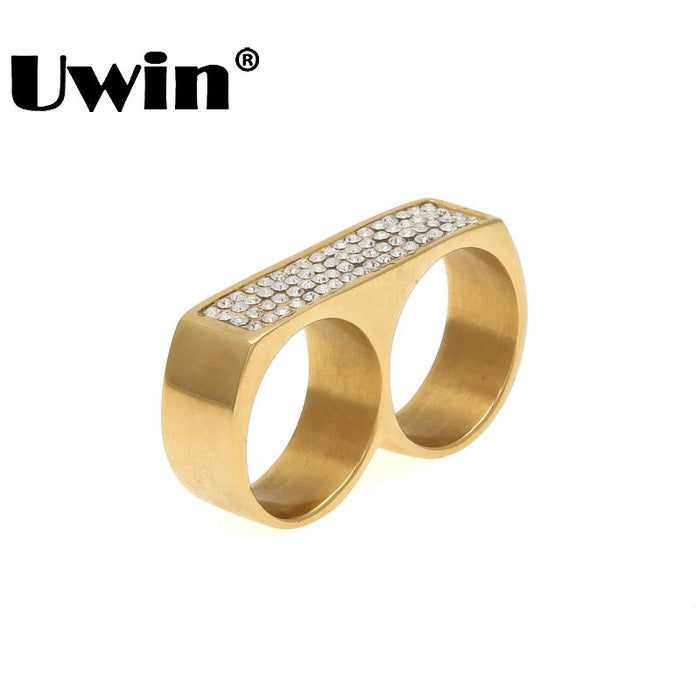 New Cool Two Finger  Fully Iced Out  Hip Hop ring - OGClout