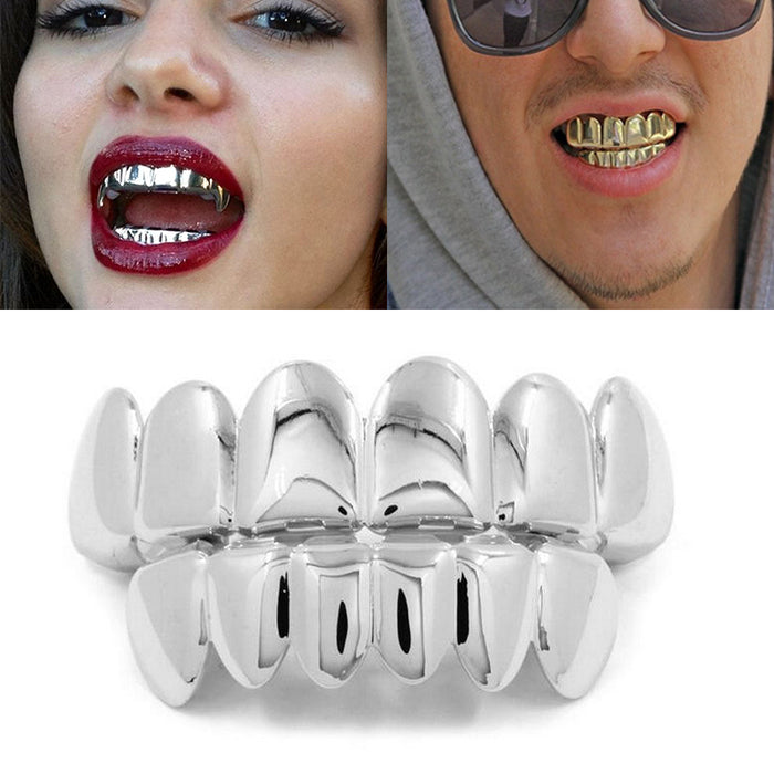 1Set Hip Hop Top&Bottom Dental Vampire Teeth Caps Mouth -Halloween Party Body Jewelry - OGClout