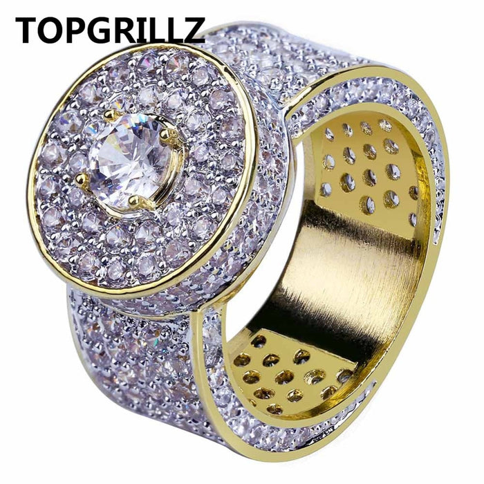 Gold Color All Iced Out Big Stone Micro Pave Cubic Zircon Ring - OGClout