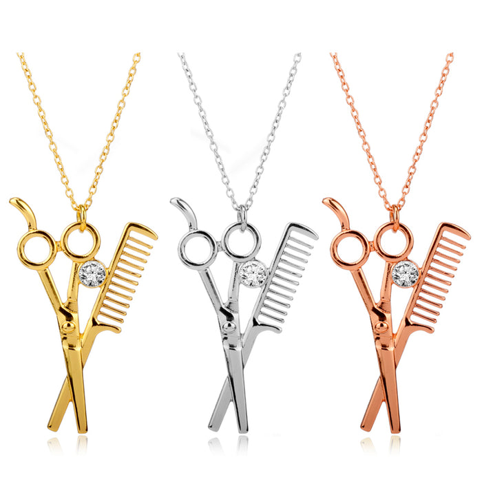 Fashion Unisex  Scissor Comb Pendant Necklace - OGClout