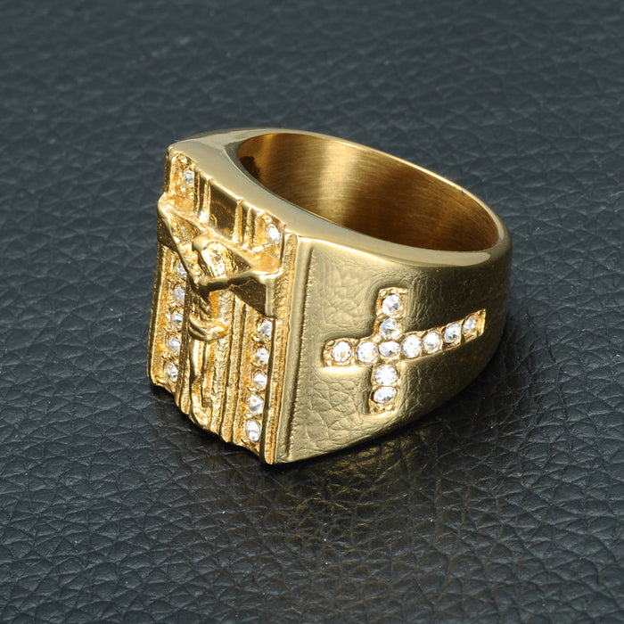 Gold Iced Out Crucifix Rings - OGClout