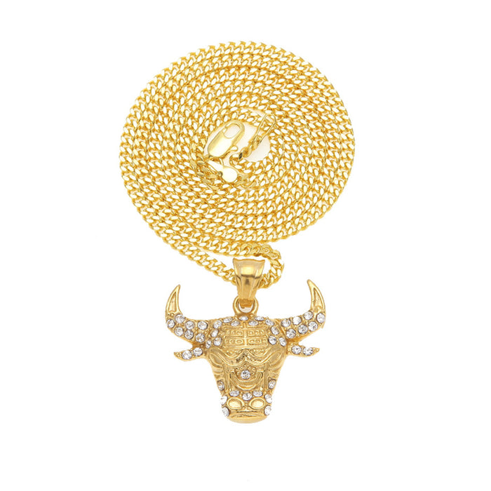 Gold Chicago Bulls Pendant Necklace - OGClout