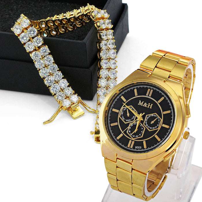 Gold Bracelet and Watch Set - OGClout