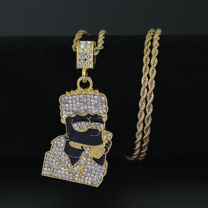 Iced Out Bart Simpson Pendant Necklace - OGClout