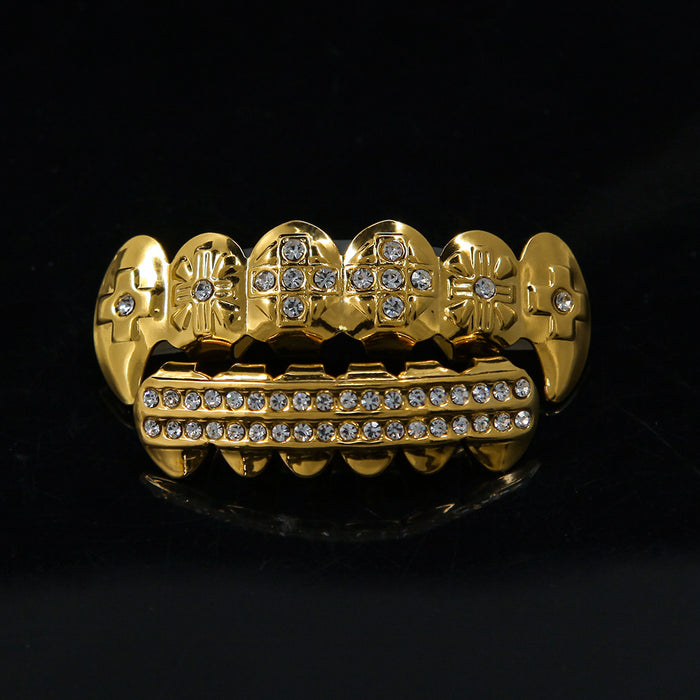 Gold  Finish ICED OUT Top Bottom Cross Shape Grillz Set         Christmas /Halloween Gift - OGClout