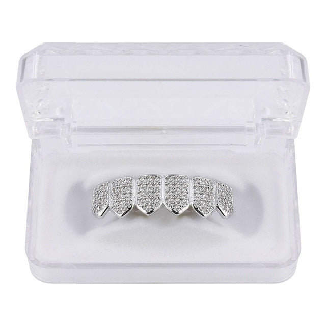 UWIN Shining Hip Hop GRILLs Iced Out AAA Zircon Fang Mouth Teeth Grills Caps Top & Bottom Grill Set Men Women Grills - OGClout