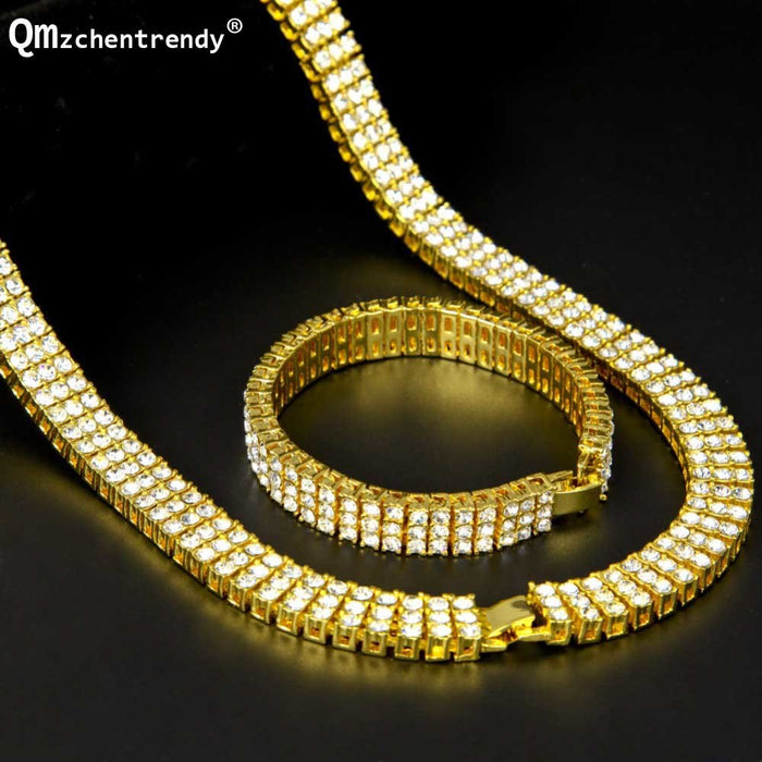 Three Rows Bling  Rhinestone Pharaoh Jewelry Set