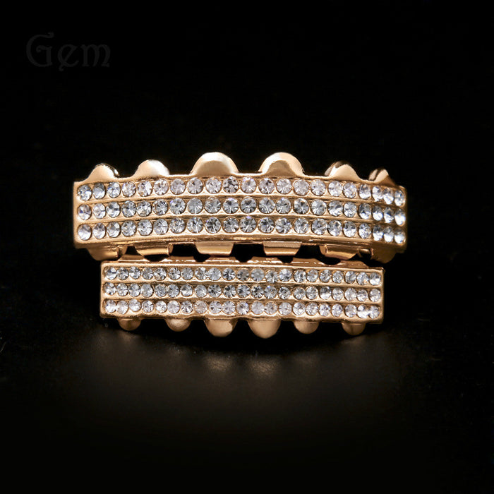 Three Row Rhinestones Studded Teeth Grillz - OGClout