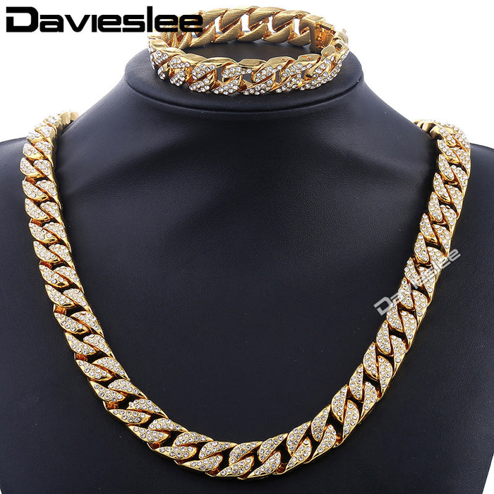 Curb Cuban  Mens  Gold Silver Color Jewelry Set