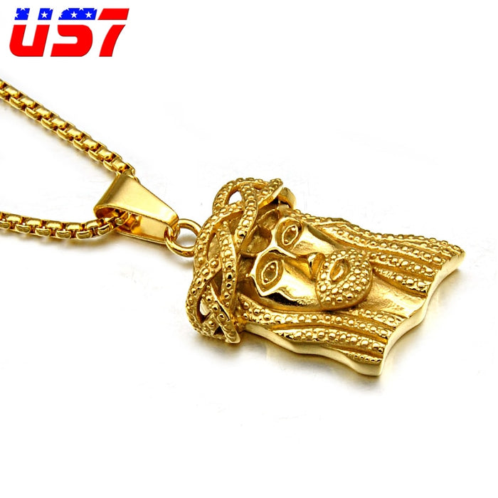 Gold JESUS Piece Titanium Stainless Steel Chain