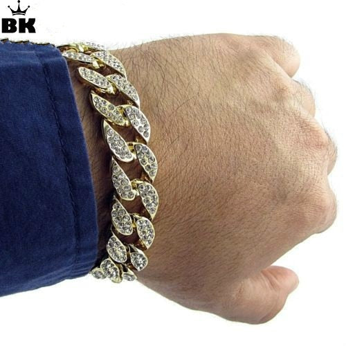 High Quality Gold Color Iced Out Miami Cuban Bracelet - OGClout