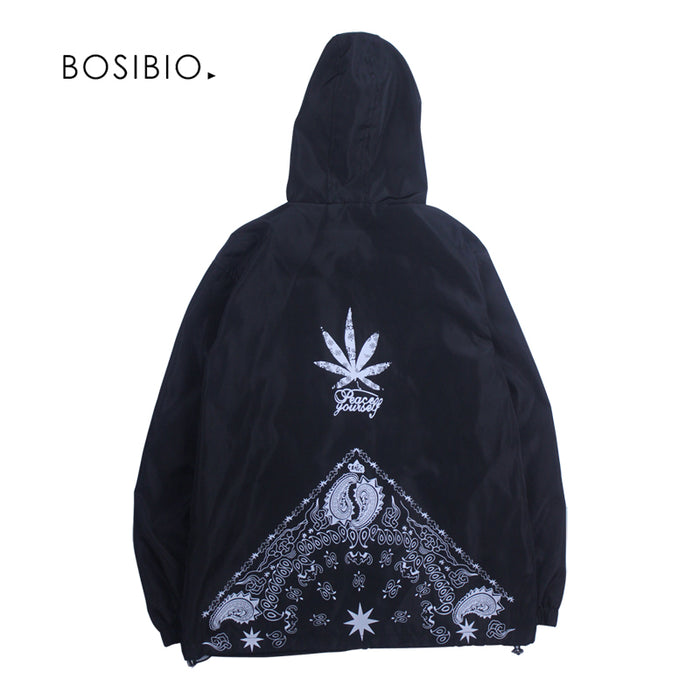 Thin Cannabiss Leaf Printing Hip Hop  hooded Jacket - OGClout