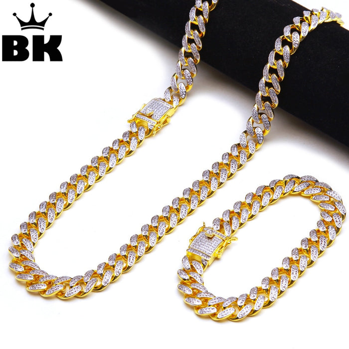13.5mm CZ Cuban Chain & Bracelet Set Gold